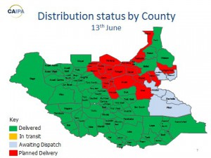 Distribution overview South Sudan - 17th June