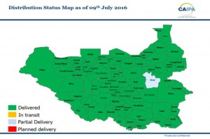 Q1 Pharmaceuticals distribution status 09th July 2016 South Sudan